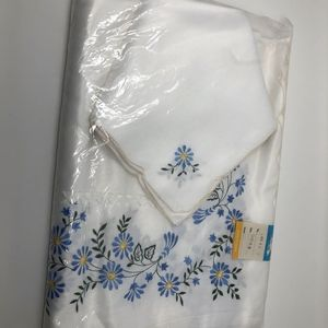 Other - White Rectangle Tablecloth 72x108 with Blue Floral